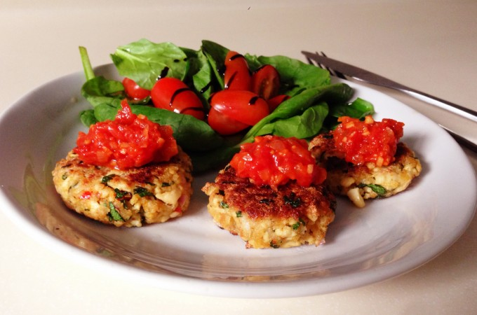 Tofu & herb croquettes with spicy tomato salsa