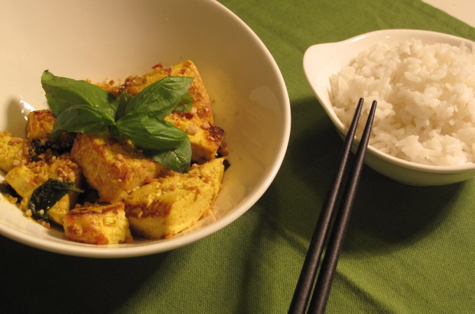 Lemongrass-marinated tofu with sweet basil